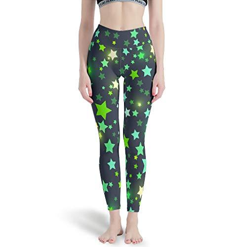 Dogedou Joggen Yoga Sporthose Mädchen Star Sky Colorful Hüfthose für Yoga White 3XL