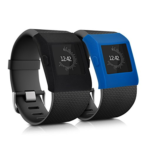 kwmobile 2en1: 2X Funda de Brazalete Deportivo para Fitbit Surge Dimensiones Interiores: Approx. - de Silicona sin Fitness Tracker en Negro Azul Oscuro