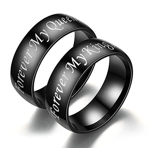 Aeici Verlobungsringe Edelstahl Paar Forever My King My Queen Ring 6MM Trauring Edelstahl Frauen 60 (19.1) + Männer 54 (17.2) Ring Schwarz