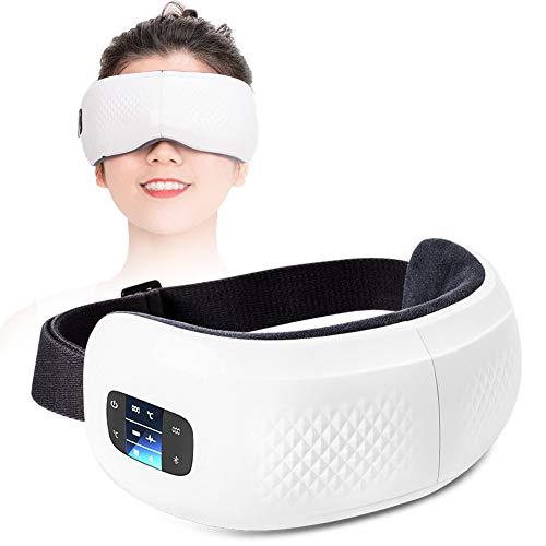 HGJDKSJ Draadloze massage-apparaat, bluetooth-slaapmasker, hot pack-massage, bluetooth-muziek, vermindering van de kringen rond de ogen, verwijdering van vermoeidheid en ontspanning van de ogen. wit