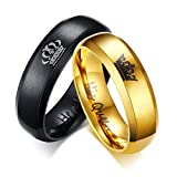 OIDEA Paar Ringe His Queen Her King Krone Eheringe Edelstahlringe Gold schwarz für Damen Herren mit Geschenkbox