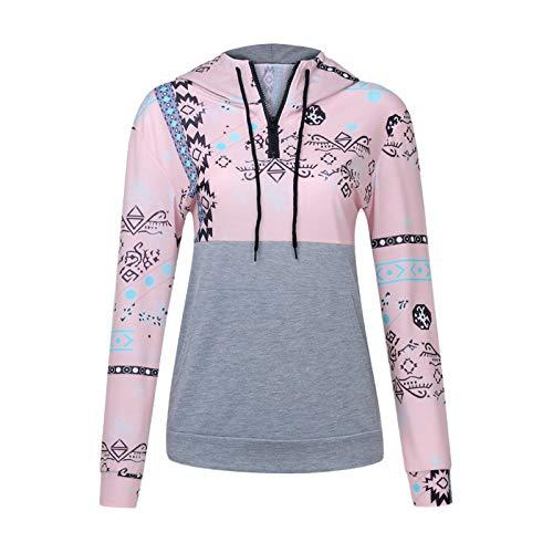 HOSD Capucha Suelto Manga Cremallera y con de Larga Suéter para Mujer Tie-Dye
