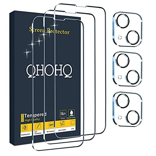 """QHOHQ 3 Pièces Verre Trempé pour iPhone 13 Mini 5.4"""" avec 3 Pièces Caméra Arrière Protecteur, Ultra Résistant Film Protection écran, 9H Dureté, HD, Anti-Rayures, Sans Bulles, Facile à Installer"""