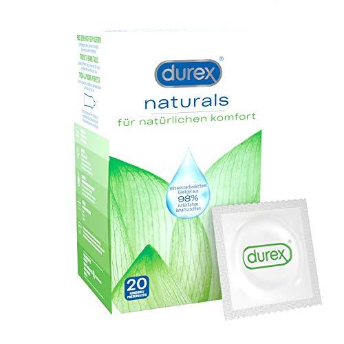 Durex Naturals Kondome 20 Stück aus Naturkautschuklatex mit wasserbasierter Gleitgelbeschichtung aus natürlichen Inhaltstoffen