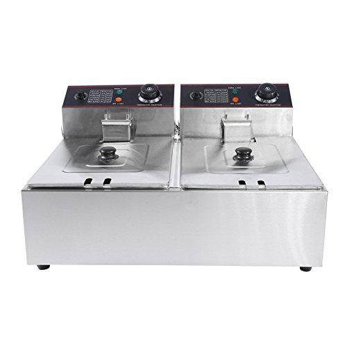 Doppel Fritteuse Edelstahl Friteuse Fryer mit 2 x 6 Liter Tanks und Separate Temperaturkontrolle