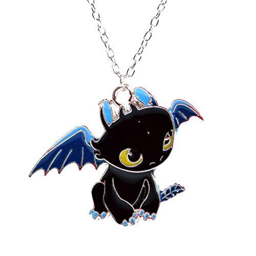 Beaux Bijoux How to Train Your Dragon Necklace - Toothless Night Fury Pendant in Black Enamel - Cartoon Character Necklace for Kids - How to Train Your Dragon3 Night Fury Toothless Pendant