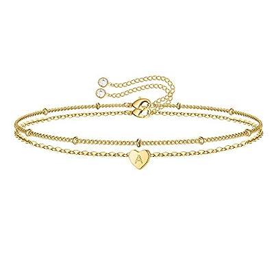 Turandoss Heart Initial Bracelets for Women, 14K Gold Filled Layered Bracelet Minimalist Initial Heart Bracelets for Women Bracelet with Initials A