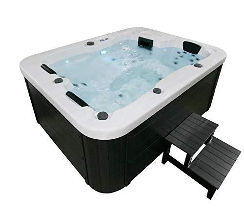 Outdoor Whirlpool Hot Tub Malta Farbe weiss mit 27 Massage Düsen + WPC Treppe + Heizung + Ozon Desinfektion + LED Beleuchtung für 2 - 3 Personen für Garten / Terrasse / Außen (Mit Einstiegstreppe)
