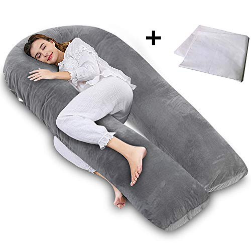 AngQi Total Body Support Pillow with Velvet Cover, U-Shaped Pregnancy Pillow, Maternity Body Pillow, Gray