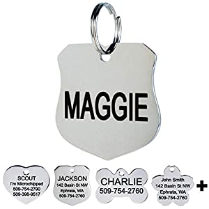 GoTags Pet ID Dog Tags. Stainless Steel. Custom Engraved. Includes up to 8 Lines of Personalized Text with Front and Backside Engraving.