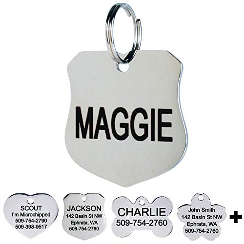 GoTags Pet ID Personalized Dog and Cat Tags. Stainless Steel. Custom Engraved with up to 8 Lines of Text. Front and Backside Engraving. Badge Shape Regular.