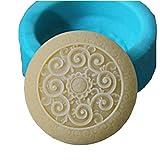 Classical Round Flower Silicone Soap Bar Mold for Handmade Melt & Pour Soap 2.61 Oz