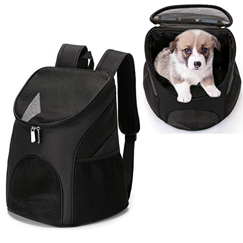 Dog Carrier Backpack Breathable for Small Pets/Cats/Puppies, Pet Carrier Bag with Mesh Ventilation, Safety Features and Cushion Back Support, for Traveling, Hiking, Camping, Walking & Outdoor, Black