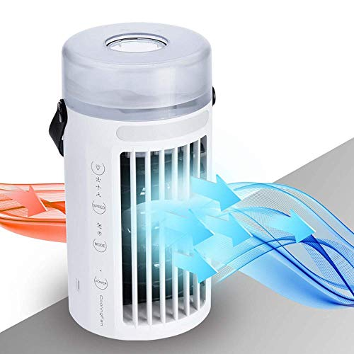 NEXFAN Personali Climatizzatore Portatile Ventilatore USB Dello Scrittorio con Umidificatore e Purificatore daria per Casa e Ufficio Bianca Mini Air Cooler Condizionatore daria Portatile