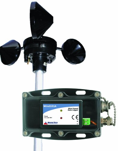 MadgeTech Wind101A-100 Wind Speed Data Logging System, with Pulse101A Data Logger, Weather Proof Enclosure, 3-Cup Anemometer, and IFC200 Software and Interface Cable, 0mph to 100mph Measurement Range, 100' Cable Length