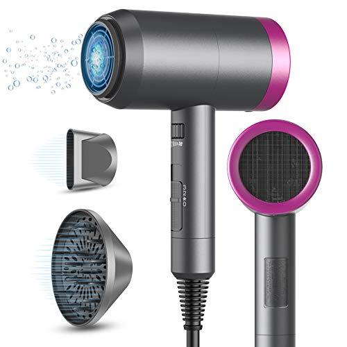 asciugacapelli professionale ioni, asciugacapelli phone per capelli phon professionali ioni da viaggio 1800W per asciugatura rapida con concentratore e diffusore, 3 Temperature e n Velocità
