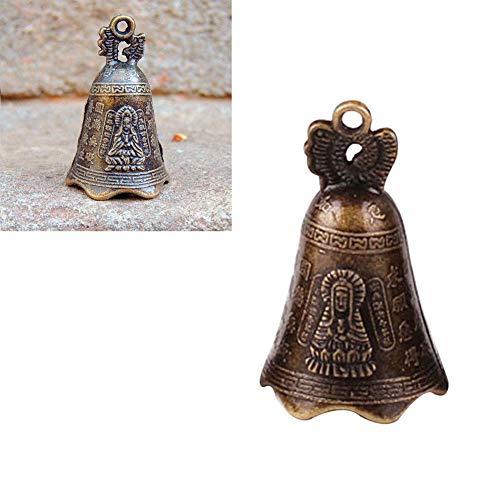 Fengshui Bell Vintage Buddha Schriften Messing Glocke traditionelle Fengshui Windspiele für Tempel Hausgarten hängen viel Glück Segen Glück antike Sammlung Geschenk 48 * 30mm