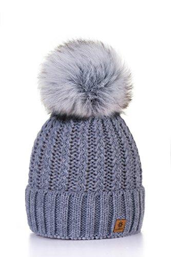 morefaz Femme Beanie Cristaux Chapeau Hat Crystal Grande Pom Pom Bonnet d'hiver Chaud Doublure Polaire MFAZ Ltd (Grey)
