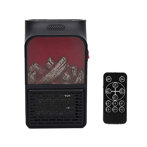 Hewyhat Mini 500 W - Radiador eléctrico con alarma de llama simulada, montaje en pared con pantalla digital de temporizador ajustable y mando a distancia