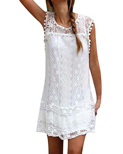 YOINS Sommerkleid Damen Kurze Elegant Strandkleid Schulterfrei Blumenmuster Sexy Kleid Ärmellos Minikleider A-weiß M