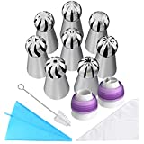 Russian Piping Tips, New 32pcs Cake Decorating Tips for Cookies Birthday Party, Including 8 Russian Tips 2 Couplers 1 Reusable Silicone Pastry Bag 10 Disposable Icing Bags and Free Cleaning Brush
