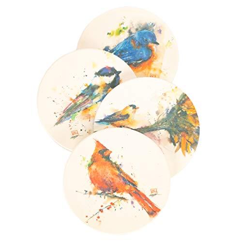 DEMDACO Dean Crouser Songbird Watercolor 4 x 4 Absorbent Ceramic and Cork Coasters Set of 4