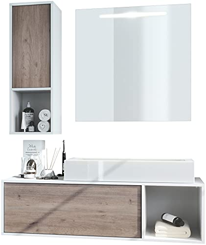 Vladon Badmöbel Komplettset La Costa, Korpus in Weiß matt/Fronten in Eiche Nordic, mit Aufsatzwaschbecken und LED Spiegel