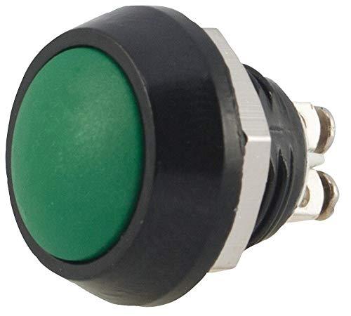 Drucktastenschalter, 12mm, grün, IP65, Kontaktkonfiguration 1NO, Plattenausschnitt Ø 12mm, Abc 12mm Drucktasten, Schalterbetrieb (ON)-OFF, Schalterklemmenschraube, Farbe grün, Kontaktstrom MA