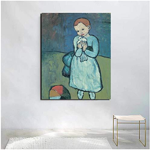 feitao Kind Mit Einer Taube Pablo Picasso Leinwand Malerei Drucke Wohnzimmer Wohnkultur Wandkunst Poster Bilder-24X32 In No Frame