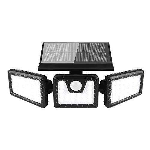 Solarlampen für Außen mit Bewegungsmelder, 70 LED Solarleuchten mit Bewegungsmelder IP 65 Wasserdichte Solar Wandleuchte 3 Modi Solar Aussenleuchte 360°Drehbare Solar Led Außen für Garten (Black)
