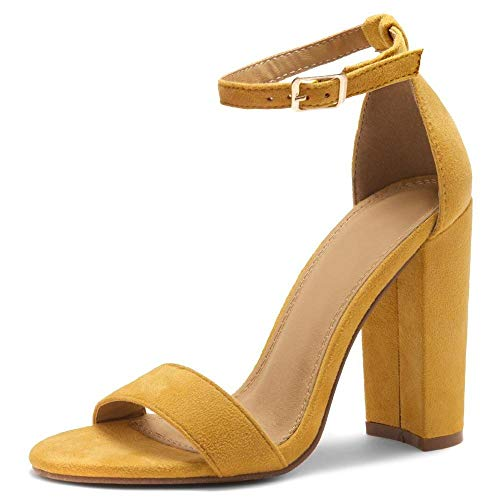 Herstyle Rosemmina Womens Open Toe Ankle Strap Chunky Block High Heel Dress Party Pump Sandals Mustard 6.0