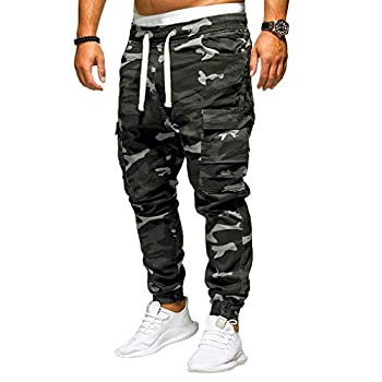 F_Gotal Mens Joggers Jeans Camo Skinny Sports Multi-Pockets Active Gym Running Street Style Workout Sweatpants Trousers