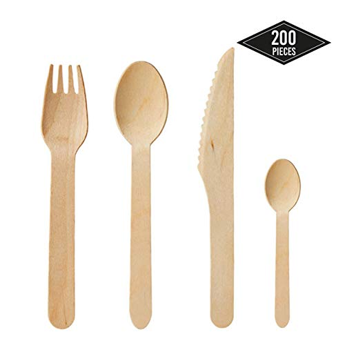 200pcs Cubiertos Desechables de Madera - 50 Cucharas, 50 Tenedores, 50 Cuchillos, 50 Cucharaditas - Fuerte & Robusto - 100% Madera Natural, Biodegradable, Ecológico - Elegante Alternativa al Plástico