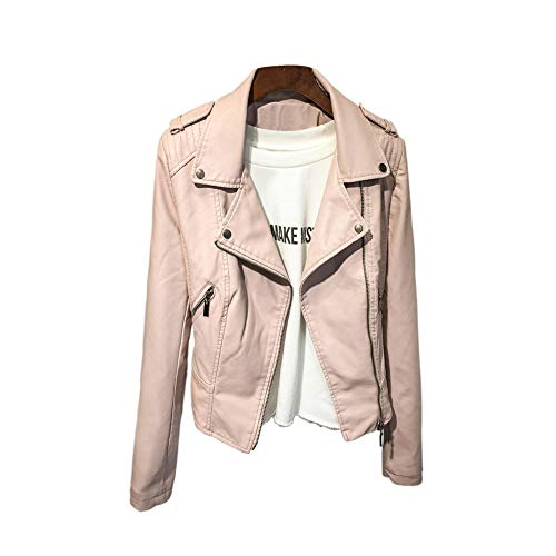 GuoCu Faux Leather Jacket,Mujer Abrigo Biker de Cuero Cazadora Polipiel Vintage de Estilo Motero Primavera Otoño Moda Chaqueta de Cuero PU de Motocicleta Solapa Chaqueta Corta de Estilo Coreano S