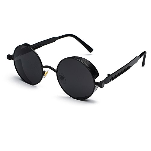 CVOO New Brand Mirror Lens Round Glasses Goggles Steam Punk Sunglasses Vintage Retro For Men And Women Eyewear