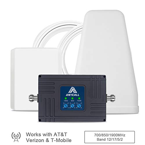 Cell Phone Signal Booster for Home and Office - AT&T, Verizon,T-Mobile - Triple Band 2/5/12/17 Cellular Repeater for US Carriers 2G 3G Call and 4G LTE Data Supports Multiple Devices Up to 5,000sq ft