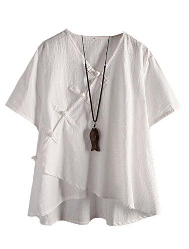 MatchLife Damen Leinen Tops Klassisches Vintage T-Shirt Chinesisch V-Ausschnitt Tunika Bluse Weiß Fits EU 42-48