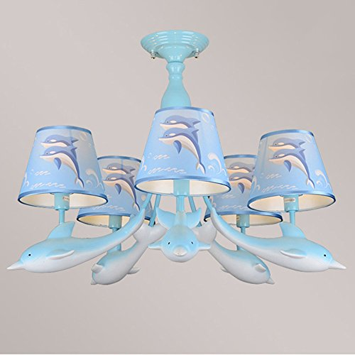 @chandelier Children's Room Chandeliers, Dolphins Creative Doll Room Lighting Led Cartoon Bedroom Lamps ( Color : Blue , Edition : Warm light )