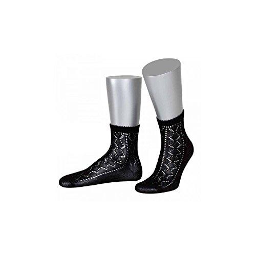 ALMBOCK Trachtensöckchen Damen - kurze Socken in schwarzer Farbe - mit edlem Ajourmuster
