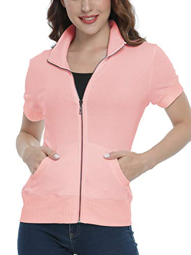 Wudodo Damen Kurzarm Sweatjacke Frauen Stehkragen Sweatshirt mit Reissverschluss