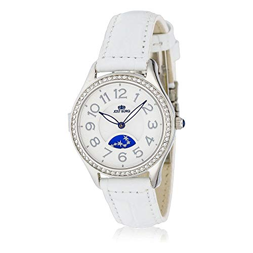 Reloj Jost Burgi para mujer de cuarzo – 33 mm – Esfera blanca – Correa de piel blanca – HB4A10C3BC4