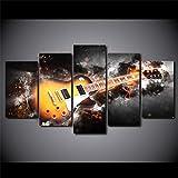 UYEDSR de 5 Paneles Cuadro de Lienzo Guitarra relámpago de Arte HD dormitorios Modernos decoración