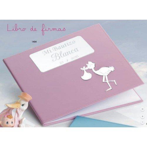 Libro de firmas para bautizo GRABADO rosa niña libros PERSONALIZADOS