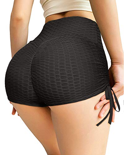 YAMOM Women's High Waisted Workout Gym Butt Lifting Booty Yoga Shorts Ruched Running Tummy Control Leggings Textured Pants