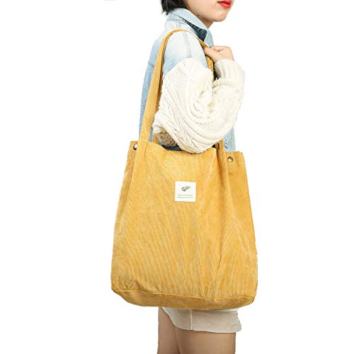 Gophra Corduroy Tote Bag for Women Girls Kids Shoulder Bag with Inner Pocket For Work Beach Lunch Travel And Shopping Grocery (Yellow)