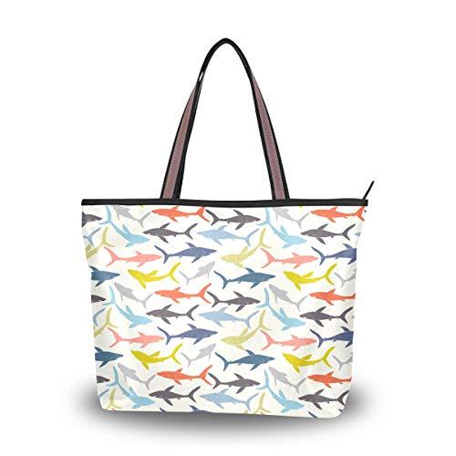 Colorful Sharks Shoulder Bags Large Handle Ladies Handbag
