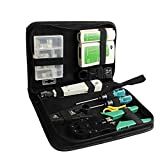 Bien hecho Herramienta de instalación de fibra óptica de la red LAN 10pcs Tool Kit Set Cable Tester Crimper Stripper Kit de herramientas de redes Bolsa de herramientas Web Accesorios duraderos
