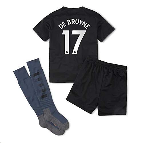 Fimng 2020-2021 Kids/Youths Away Soccer Jersey/Short/Socks Colour Black (Manchester City De Bruyne #17(1-3years/size16))