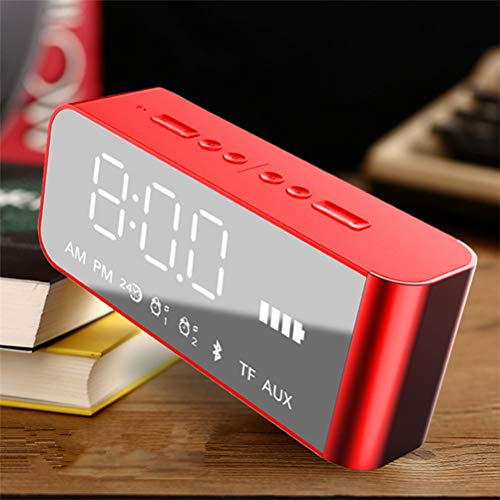 MESST Altavoz Bluetooth, Espejo Despertador Bluetooth Altavoz de la Oficina en casa Radio Altavoz Doble subwoofer, Adecuado para conectar el teléfono móvil Bluetooth,Red