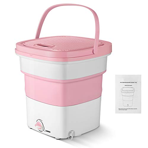 Magic Folding Washing Machine Quick Gear Washing Machine Portable Foldable Collapsible Countertop Automatic Personal Turbine Washer for Camping Travelling Apartments Dorms RV (300W, Pink)